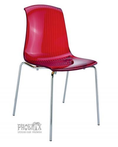 2972 Ακρυλική Καρέκλα χρώμα  KOKKINO