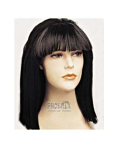 393 Αποκριάτικη Περούκα καρέ μακρύ μαύρη