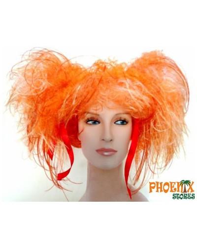 3558    Αποκριάτικη περούκα σγουρή με πορτοκαλί κοτσίδες.
