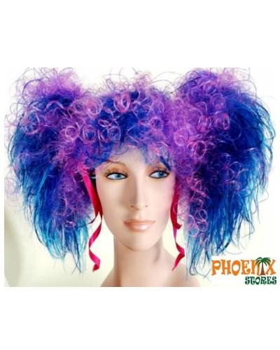 3556   Αποκριάτικη περούκα σγουρή με μπλέ κοτσίδες.
