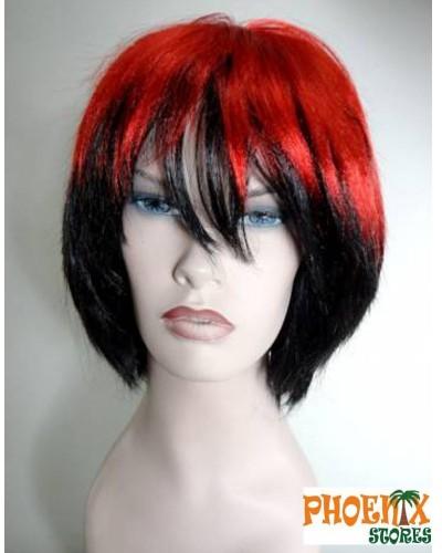 3563  Αποκριάτικη περούκα μελαχρινή-κόκκινη.