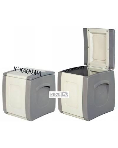 4238 Πλαστικό Μπαούλο 50χ54χ57εκ  χρώμ. μπεζ/λευκό