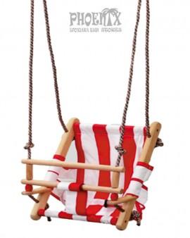 4419  Κούνια παιδική ξύλινη με ύφασμα