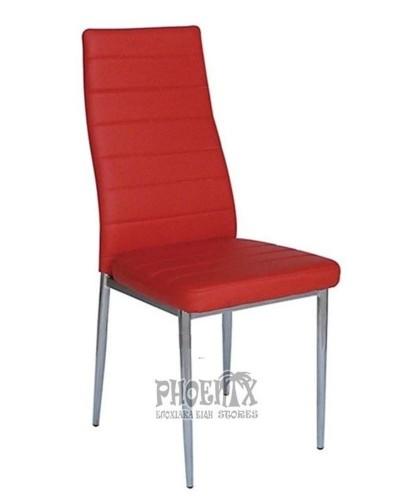 5875 Καρέκλα  κόκκινη δερματίνη  χρωμίου