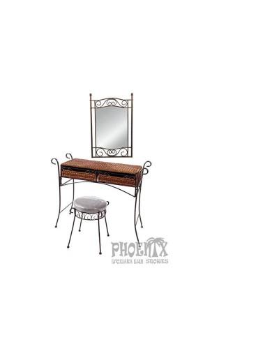 Τουαλέτα με καθρέφτη μασίφ μπρονζέ